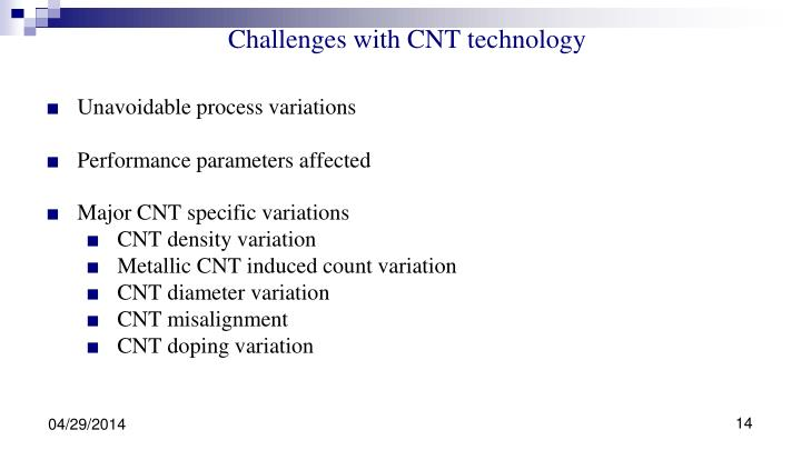 Major CNT specific variations