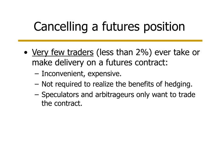 Cancelling a futures position