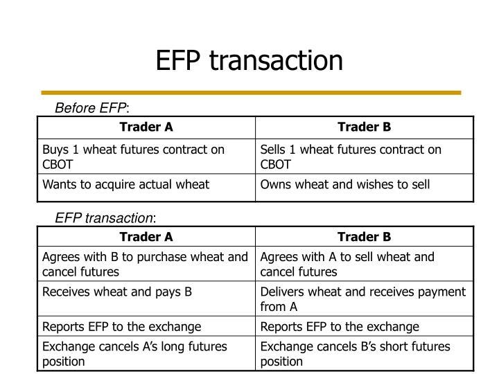EFP transaction