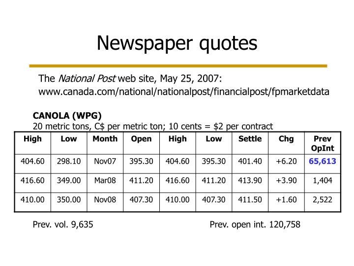 Newspaper quotes