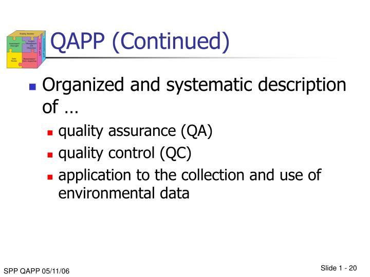 QAPP (Continued)