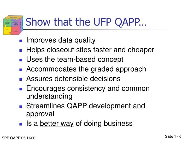 Show that the UFP QAPP…
