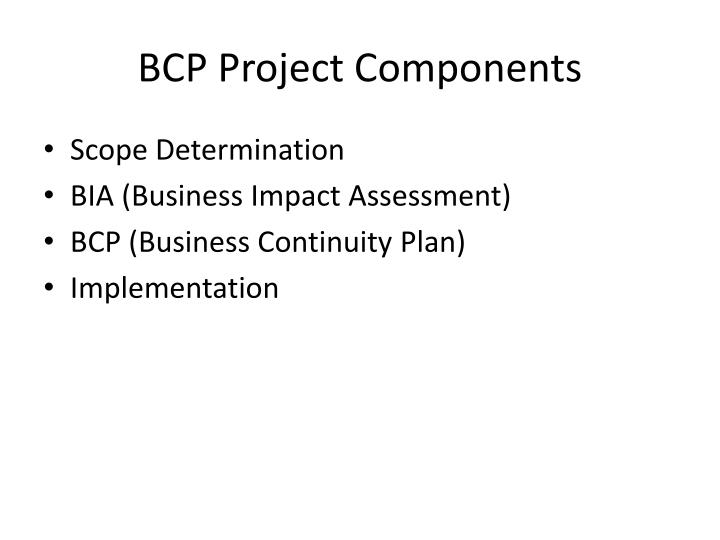 BCP Project Components