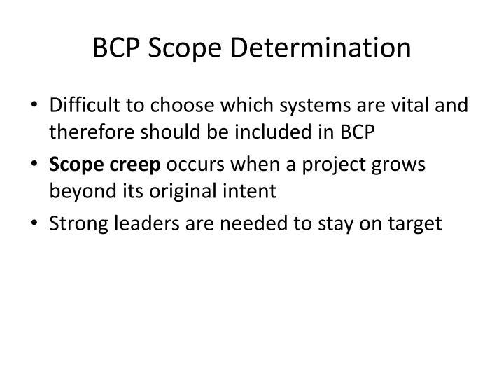 BCP Scope Determination