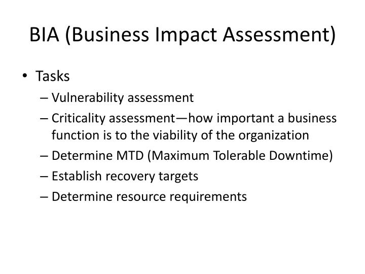 BIA (Business Impact Assessment)