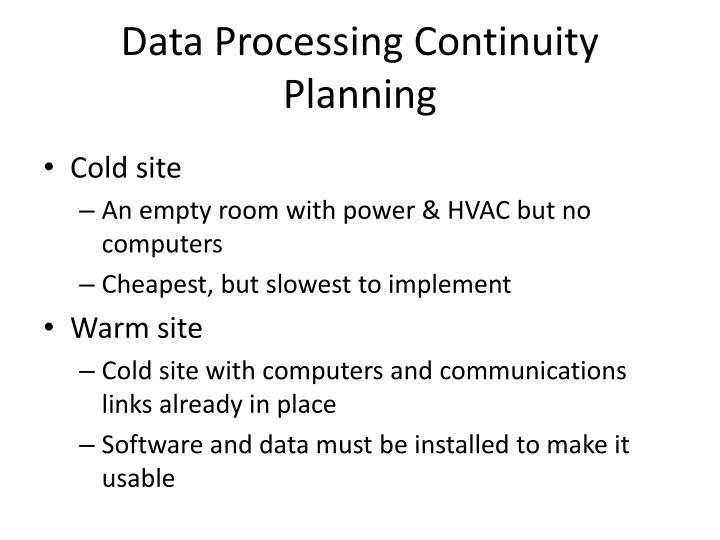 Data Processing Continuity Planning