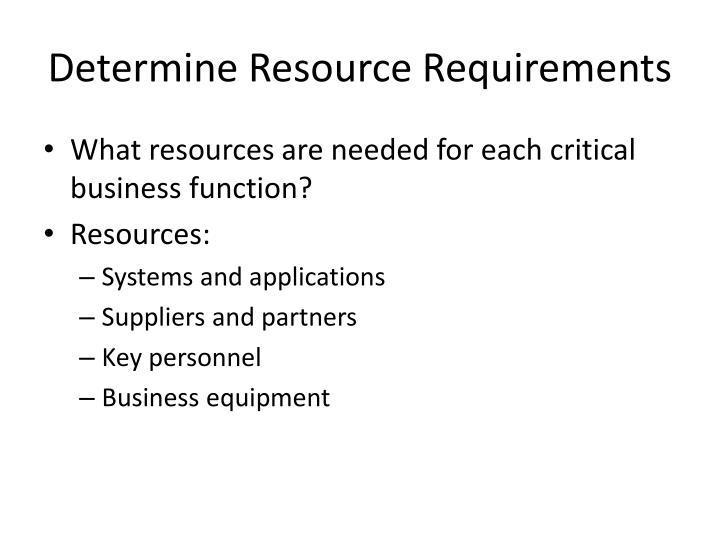 Determine Resource Requirements