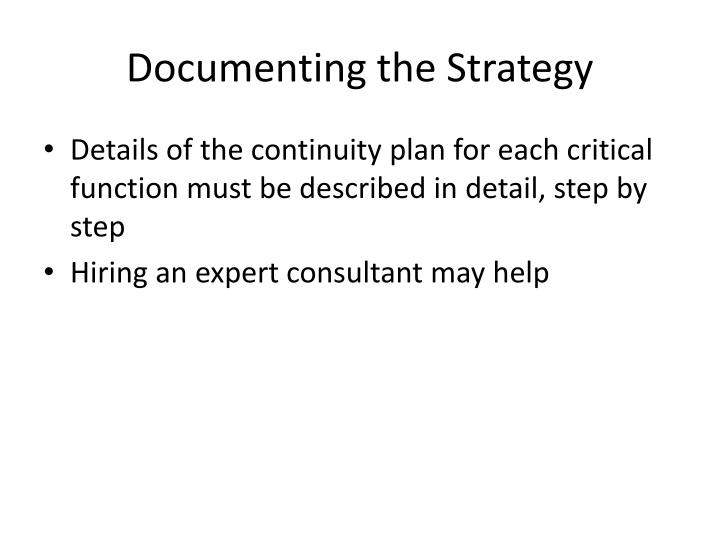 Documenting the Strategy