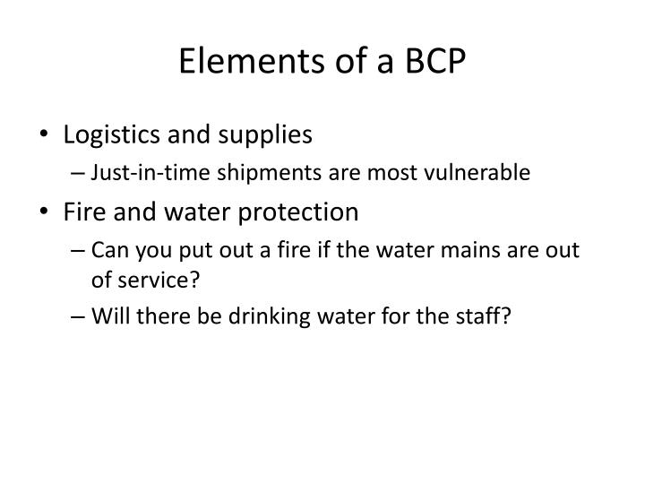 Elements of a BCP
