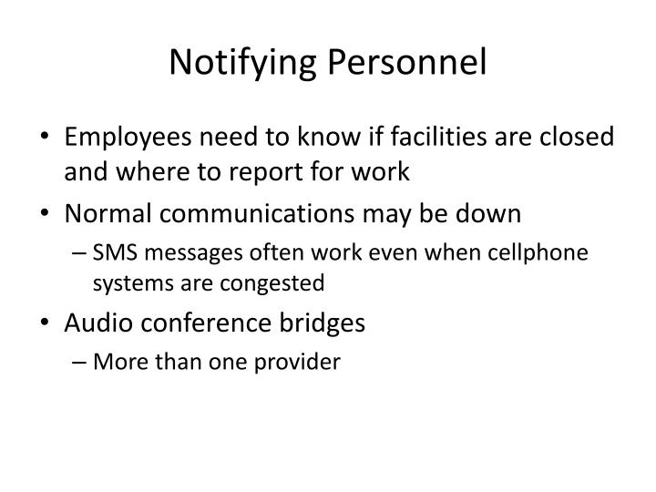 Notifying Personnel