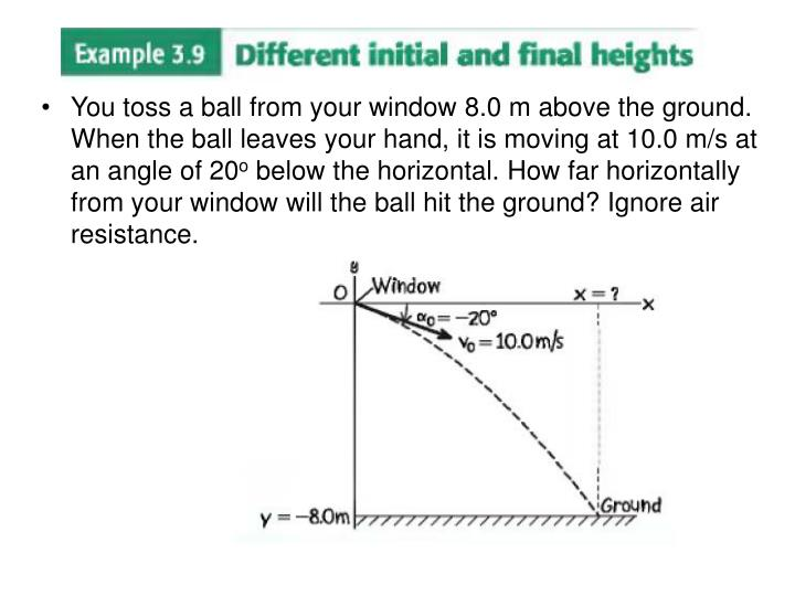You toss a ball from your window 8.0 m above the ground. When the ball leaves your hand, it is moving at 10.0 m/s at an angle of 20