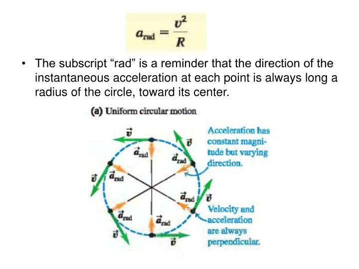 """The subscript """"rad"""" is a reminder that the direction of the instantaneous acceleration at each point is always long a radius of the circle, toward its center."""
