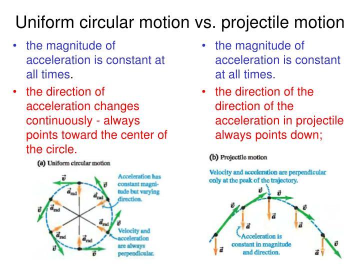 Uniform circular motion vs. projectile motion