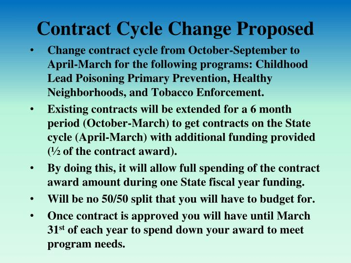 Contract Cycle Change Proposed