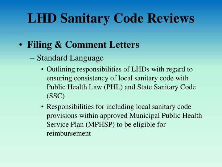 LHD Sanitary Code Reviews