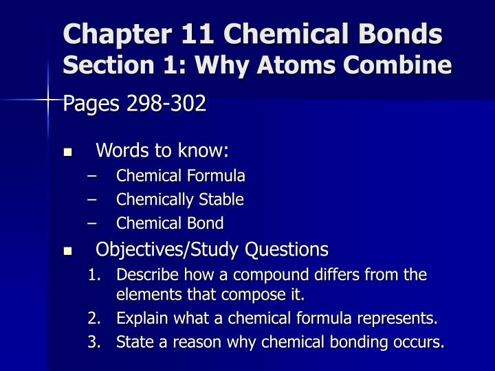 Chapter 11 Chemical Bonds