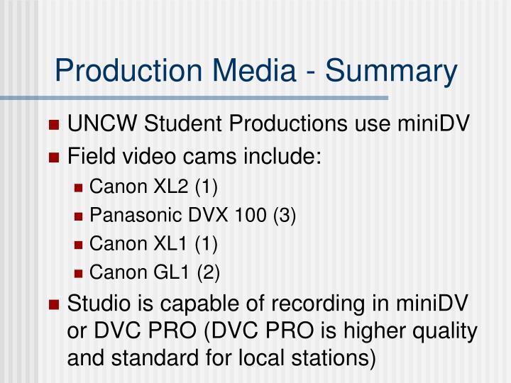 Production Media - Summary