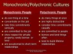 monochronic polychronic cultures
