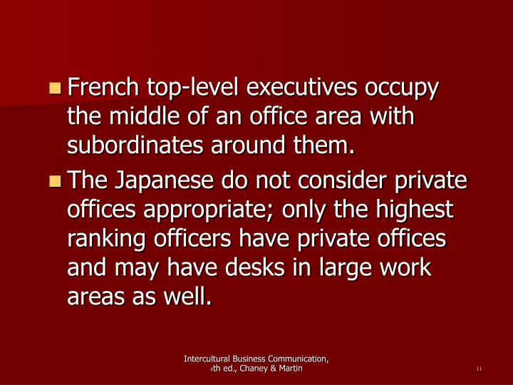 French top-level executives occupy the middle of an office area with subordinates around them.