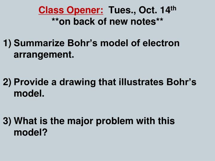 class opener tues oct 14 th on back of new notes