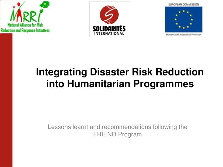 integrating disaster risk reduction into humanitarian programmes