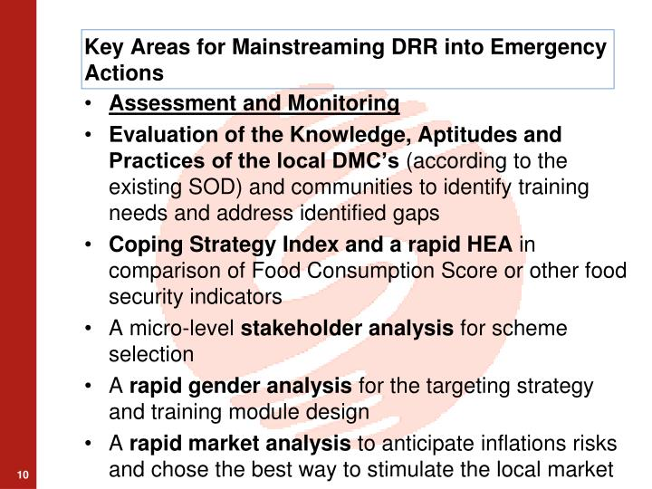 Key Areas for Mainstreaming DRR into Emergency Actions
