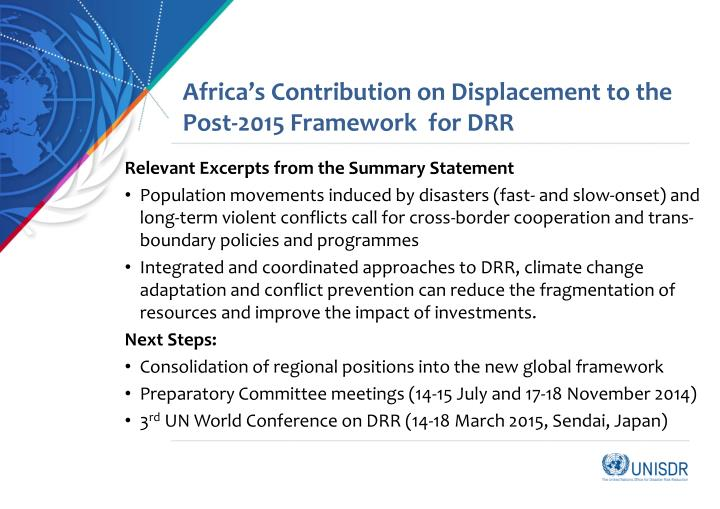 Africa's Contribution on Displacement to the Post-2015 Framework  for DRR