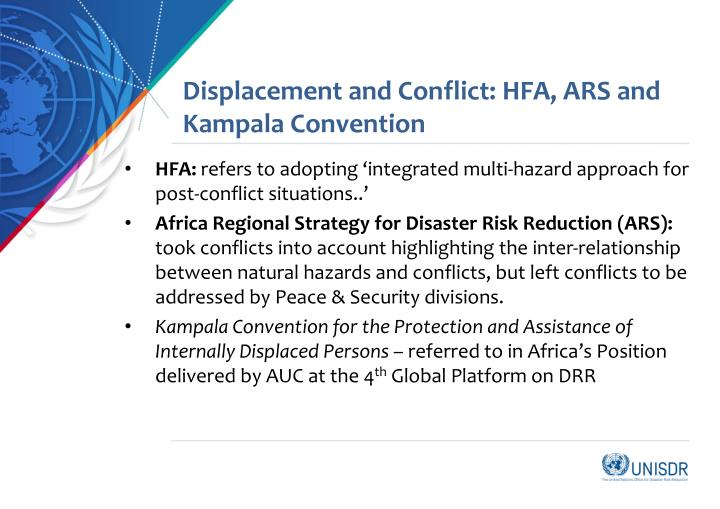 Displacement and Conflict: HFA, ARS and Kampala Convention