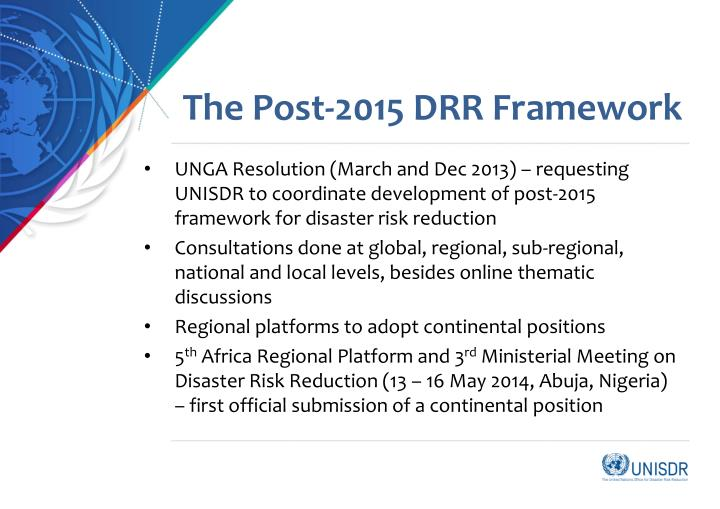 The Post-2015 DRR Framework
