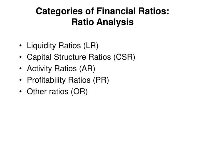 Categories of financial ratios ratio analysis