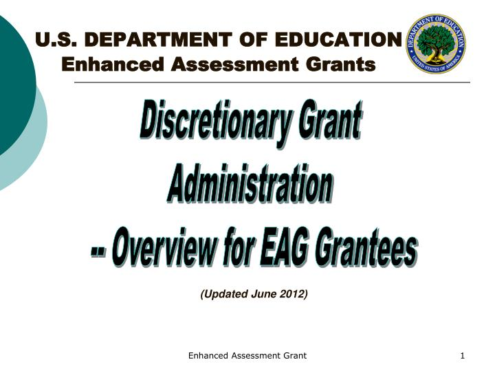 U s department of education enhanced assessment grants