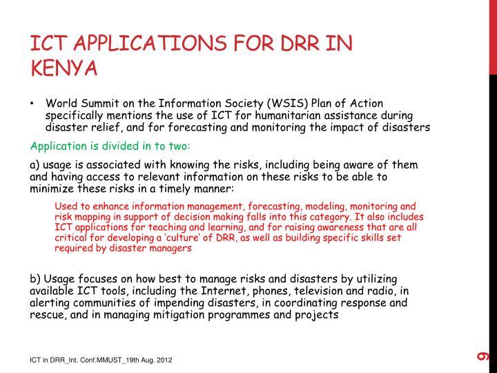 ICT Applications for DRR in Kenya
