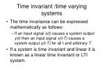 time invariant time varying systems