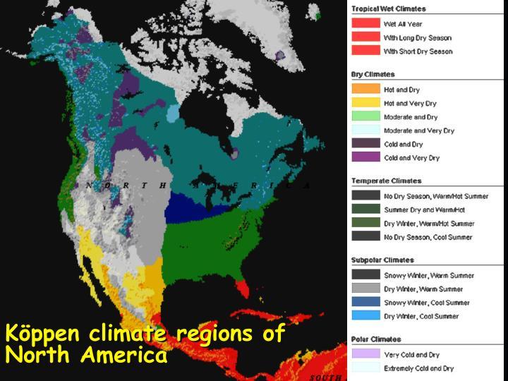 Köppen climate regions of North America