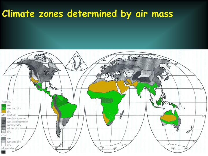 Climate zones determined by air mass