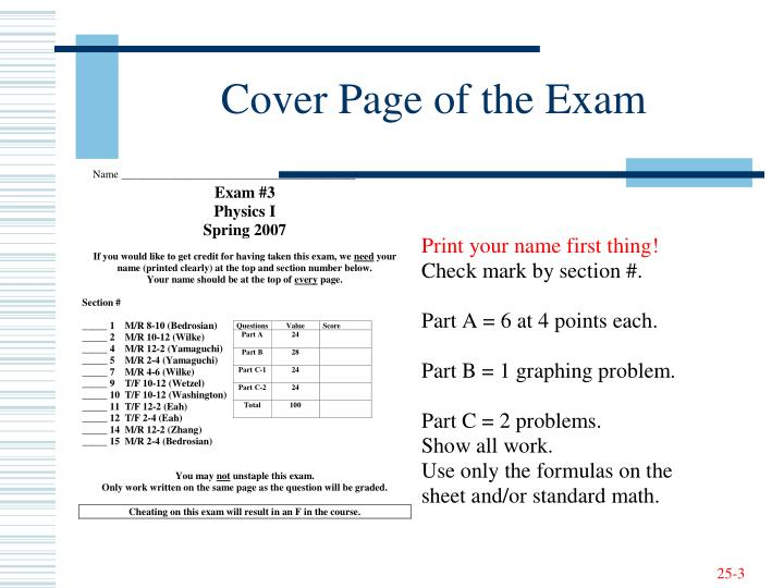 Cover Page of the Exam