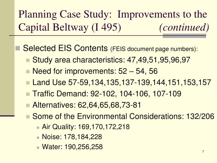 Planning Case Study:  Improvements to the Capital Beltway (I 495)