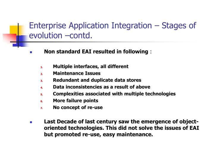 Enterprise Application Integration – Stages of evolution –contd.
