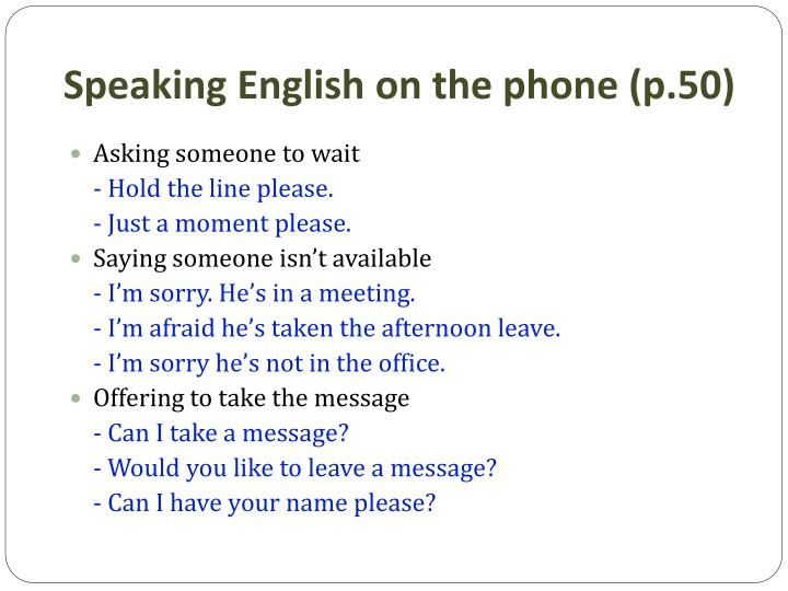 Speaking English on the phone (p.50)