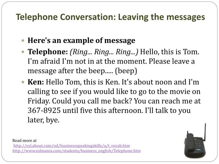 Telephone Conversation: Leaving the messages