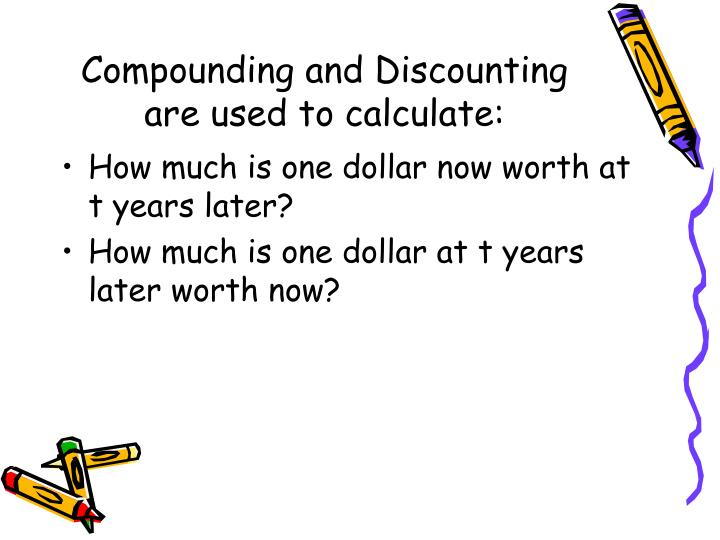 Compounding and discounting are used to calculate