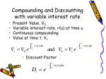 compounding and discounting with variable interest rate