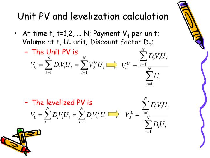 Unit PV and levelization calculation