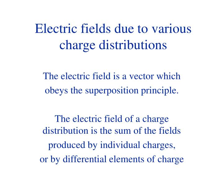 Electric fields due to various charge distributions