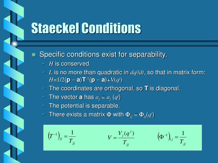 Staeckel Conditions
