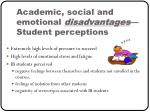 academic social and emotional disadvantages student perceptions