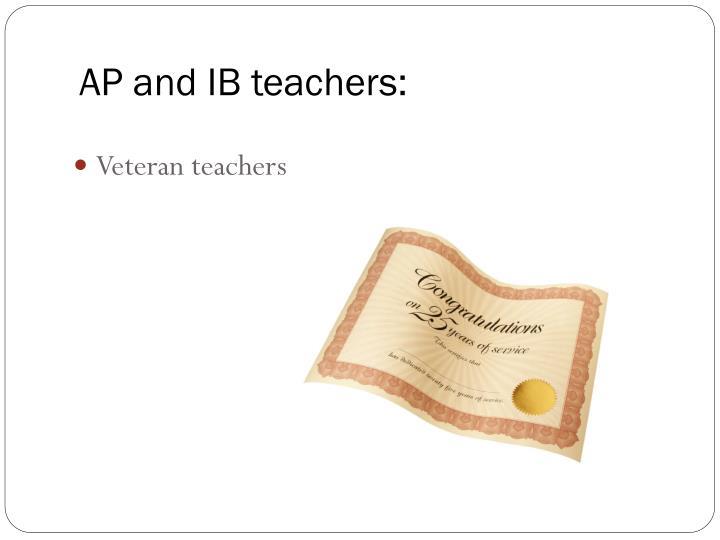 AP and IB teachers: