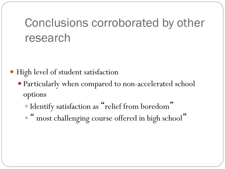 Conclusions corroborated by other research