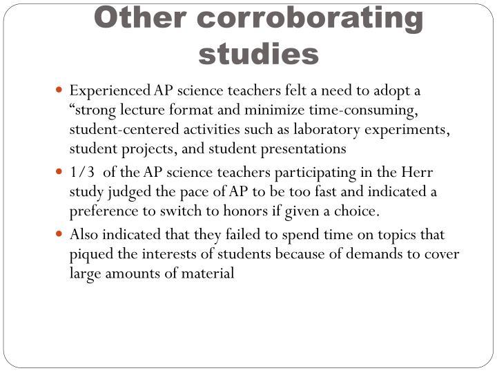Other corroborating studies