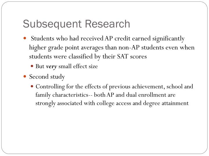 Subsequent Research